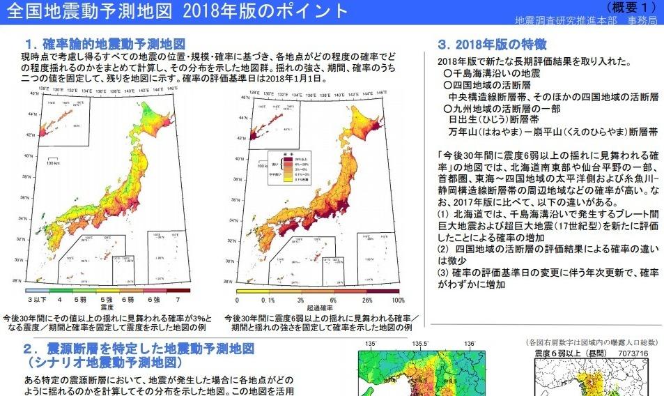 【2018年版】政府・地震調査委員会が「全国地震動予測地図」を公表…委員長「震度6弱の地震は、日本中どこでも起きる」