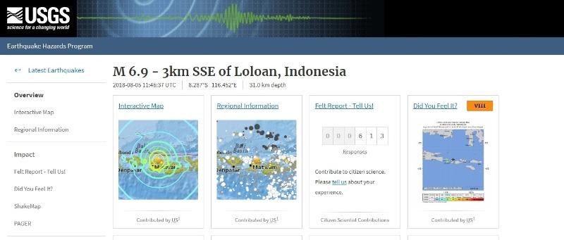 【バリ島東】インドネシアのロンボク島で「M6.9」の地震発生