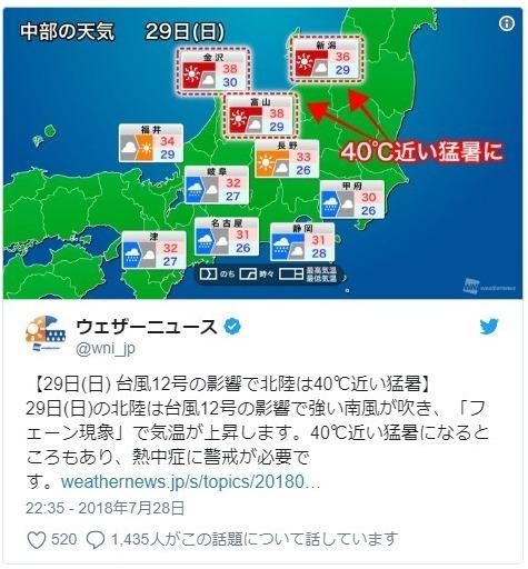 【猛暑】台風の影響で「フェーン現象」…北陸でも「40℃」近い気温になる予想