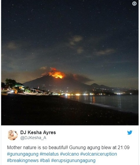 【インドネシア】バリ島にある「アグン山」がマグマ噴火