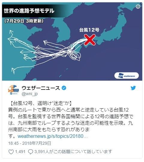 【逆走】台風12号、九州南部で「ループ」し大雨になるおそれ