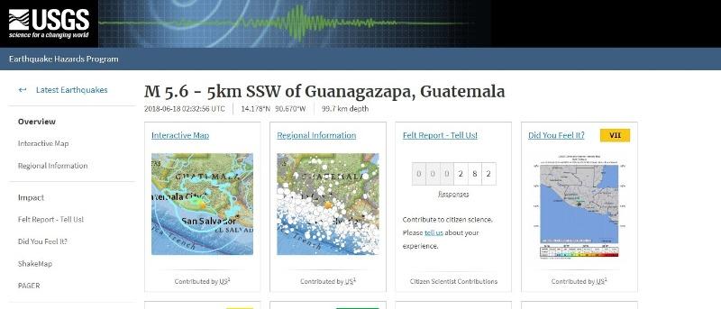 大阪で「M6.1」地震の3時間半後に、グアテマラでも「M5.6」の強い揺れの地震発生