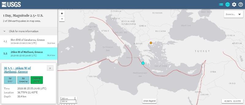 【地中海】ギリシャ沖で「M5.5」の地震発生