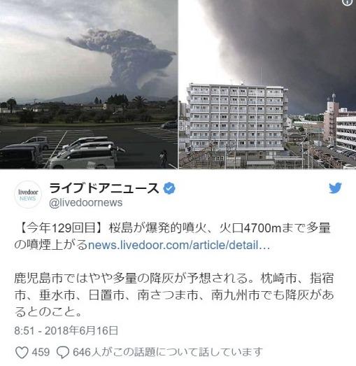 【火山】桜島で爆発的噴火…噴煙4700メートルまで上げ、一帯が噴煙で真っ黒に