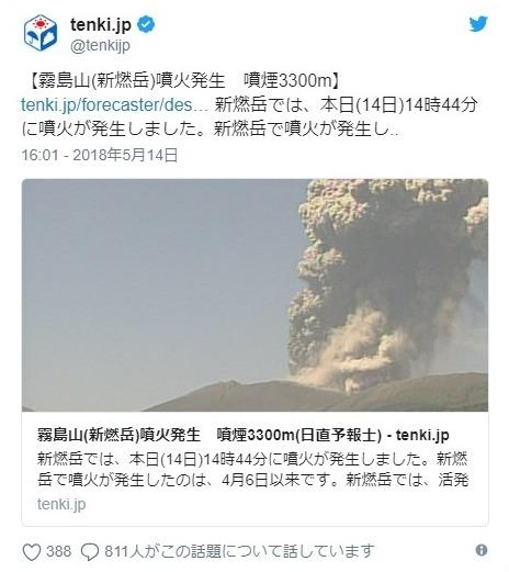 【九州】霧島連山・新燃岳が4月6日以来の噴火…噴煙4500メートルまで上がる