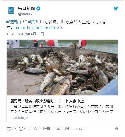 【宮崎】霧島連山・硫黄山の噴火により長江川が強い酸性になり白濁化し、コイやナマズなど「数100匹」の魚が死ぬ…また、地下水が汚染され「200倍のヒ素」も検出