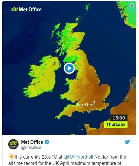 【イギリス】ここ70年で最も暑い日に!4月でこれほど暑いのは1949年以来…最高気温「29.1℃」で例年にない暑さが続く