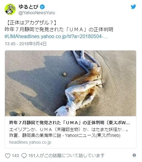 【UMA】去年の7月、静岡の海岸に打ち上げられていたエイリアンのような「謎の物体」…その正体が判明か?