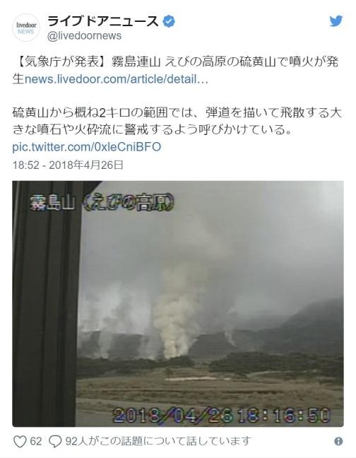【九州】霧島連山・えびの高原「硫黄山」がまたも噴火