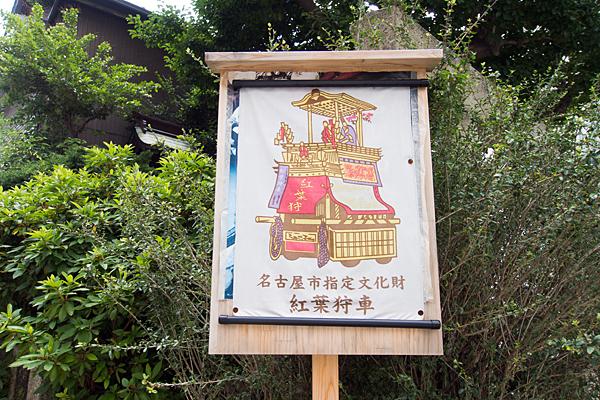 名駅5天王社紅葉狩車の説明板