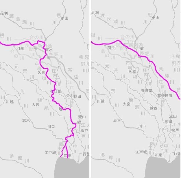 利根川東遷(左:中世の利根川、右:現在の利根川)