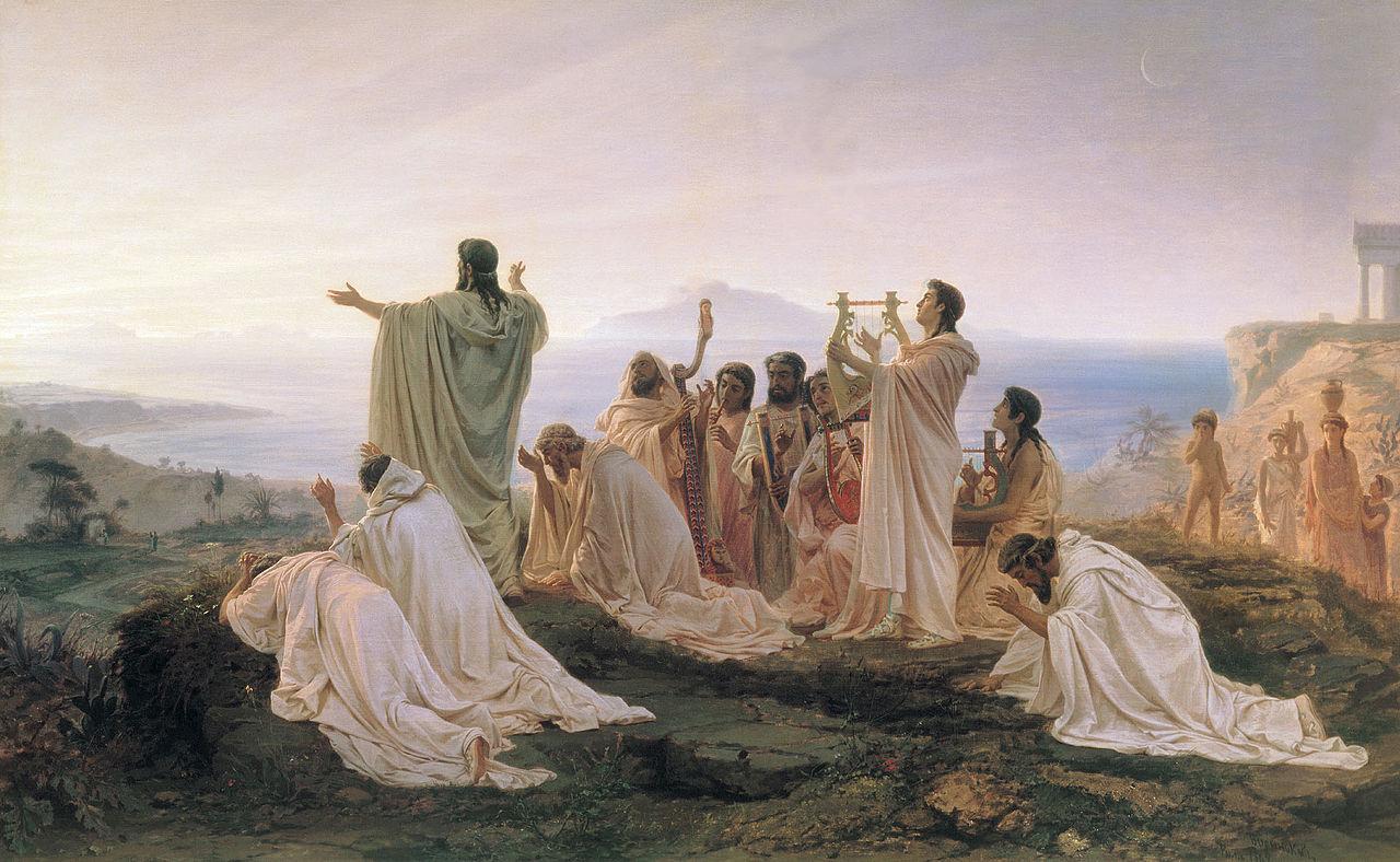 日の出を祝うピタゴラス