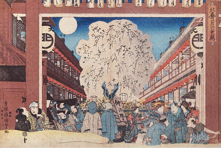 『北廊月の夜桜』 歌川国貞