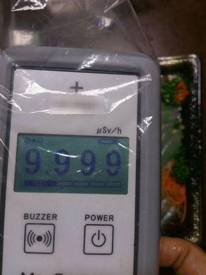 写真1:鮮魚店で買った魚を放射線測定器で測った時の写真