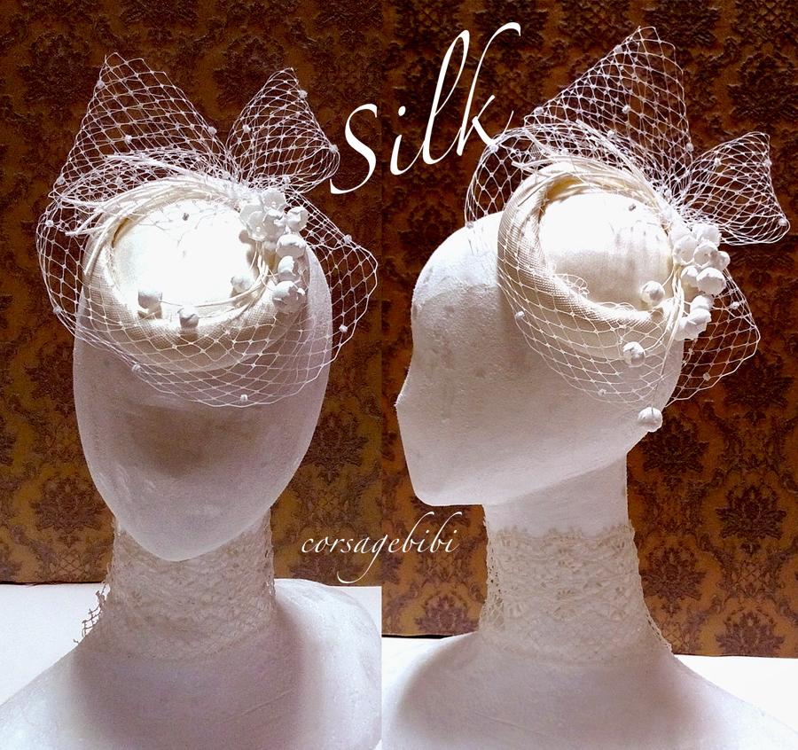 シルク100% 新 小石丸シルク トーク帽 トークハット ウェディングハット クラシックな ヘッドドレス カクテルハット スズラン No.50a 3
