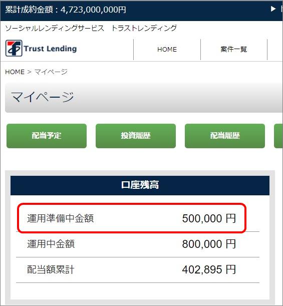 02_トラストレンディング50万円投資
