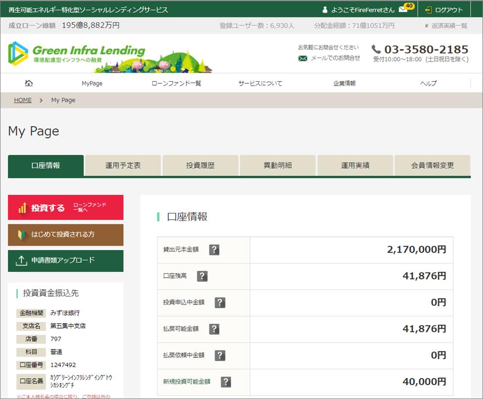 グリーンインフラレンディング221万円投資中