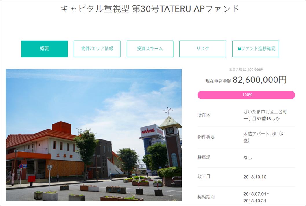 01_TATERU Fundingキャピタル重視型第30号ファンド