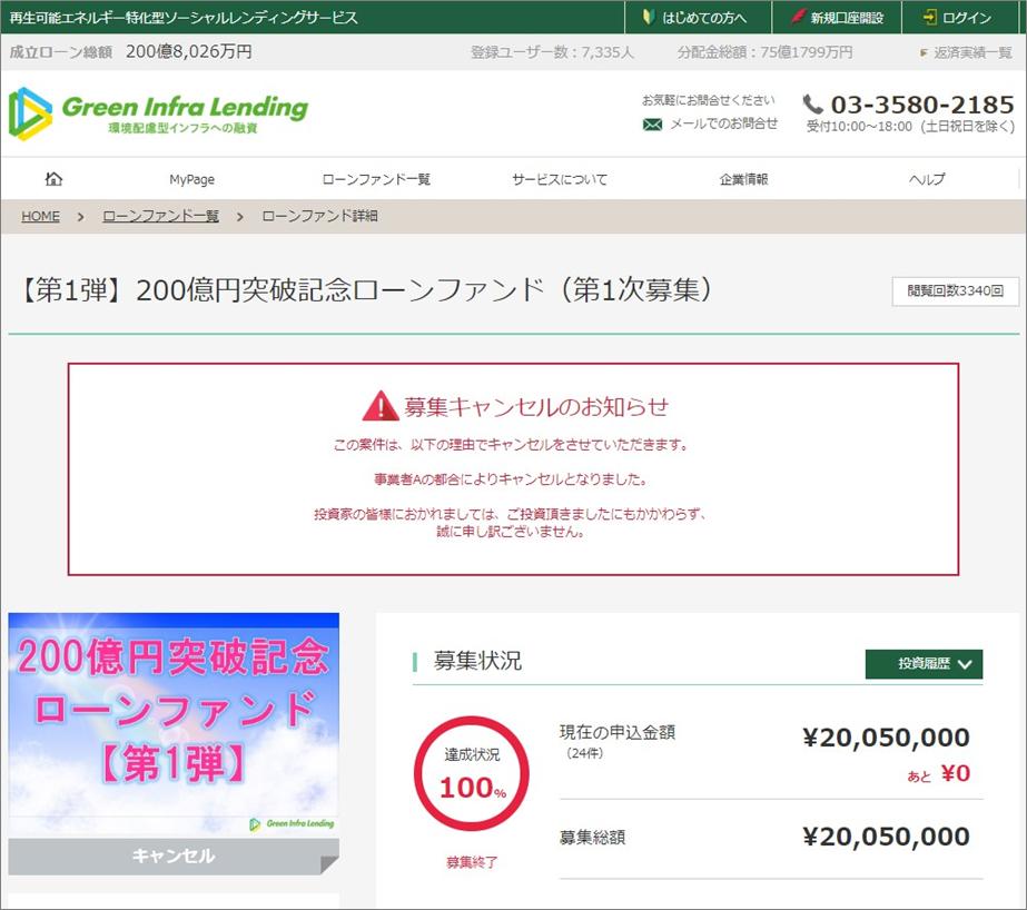 グリーンインフラレンディング200億円突破記念案件キャンセル