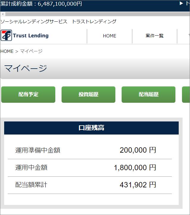 07_トラストレンディングへ20万円投資