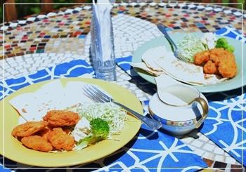 ケサディジャ&チキンポップコーン
