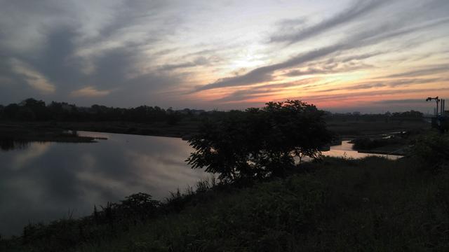 多摩川の朝焼け 今日ではないです。