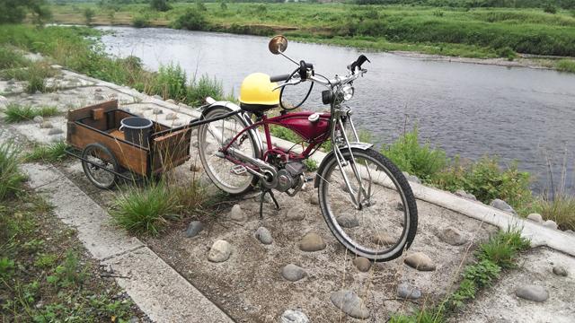 リアカーをバタバタ自転車で