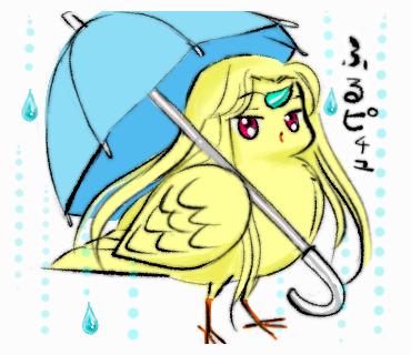 傘をもたせてみました