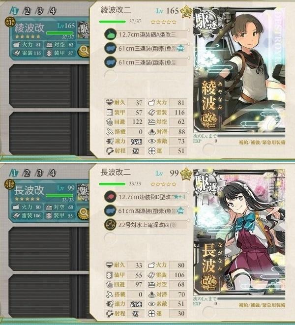 2018年7月 駆逐艦 特殊な装備の組み合わせ