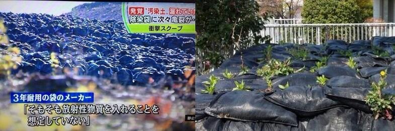放射能汚染土の入ったフレコンバッグ