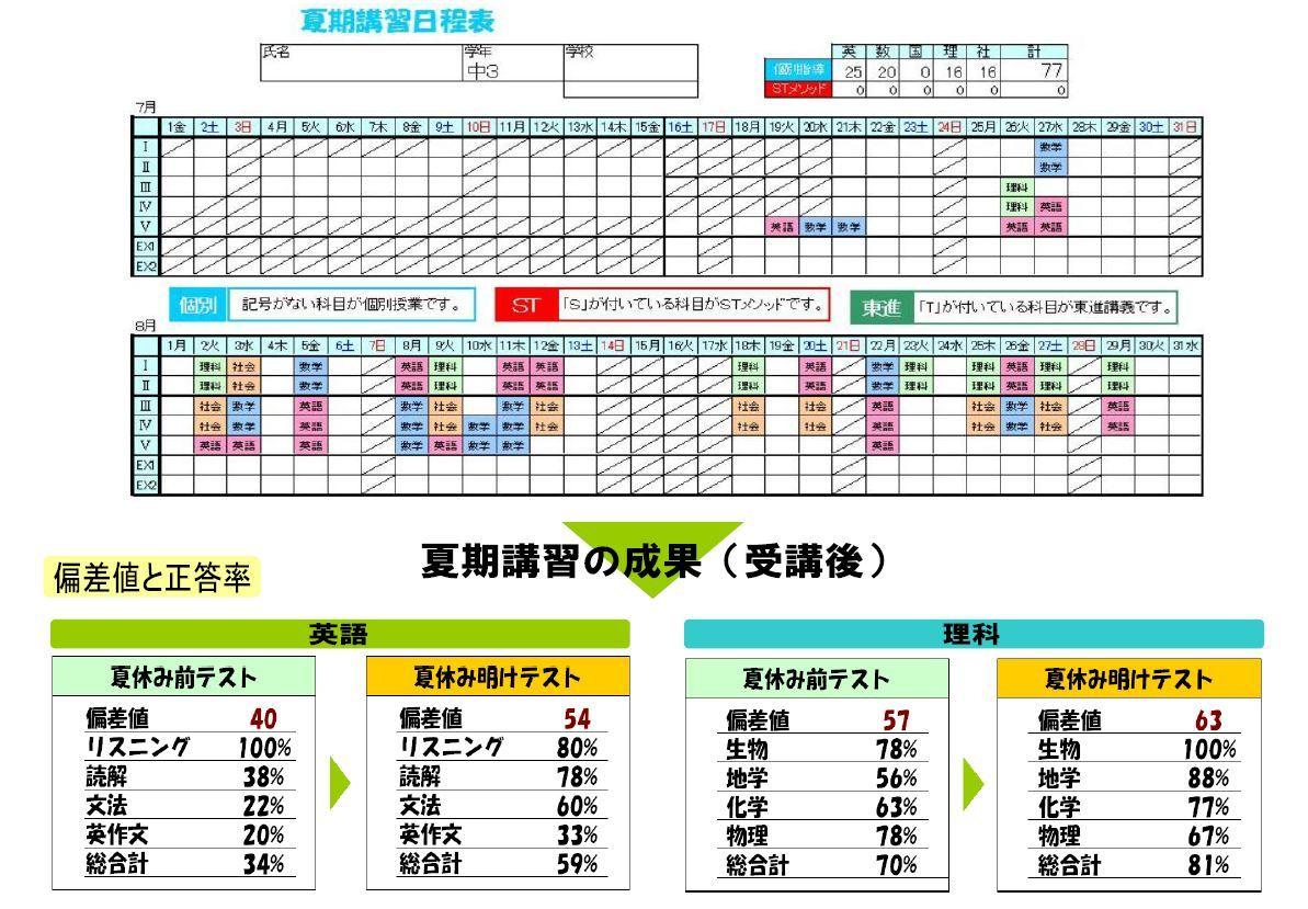 夏期講習日程表2