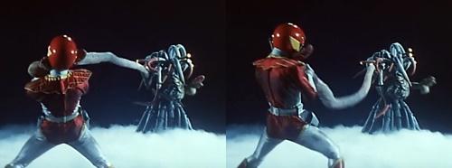 戦隊ヒーロー、ジェットマンのレッドホークが敵のアジトでやられる