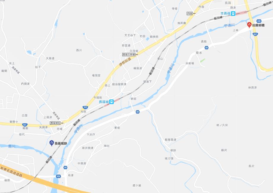 旧黄柳橋から長篠城址の地図