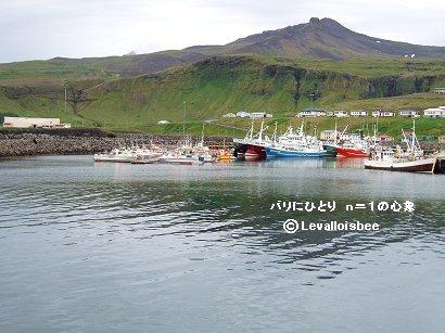 Snaefellsnes半島no草地の山と漁港の船downsize