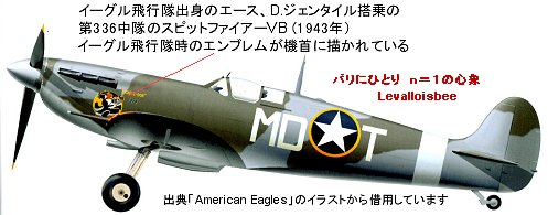 エース、ジェンタイル搭乗のアメリカン・スピットファイアーVB