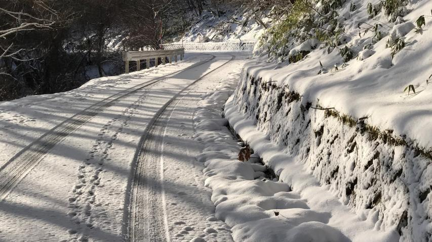 国道 (酷道とも言われる) 438号線、標高の高い部分には積雪