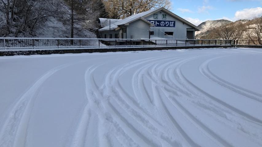 雪原にワダチのシュプール!