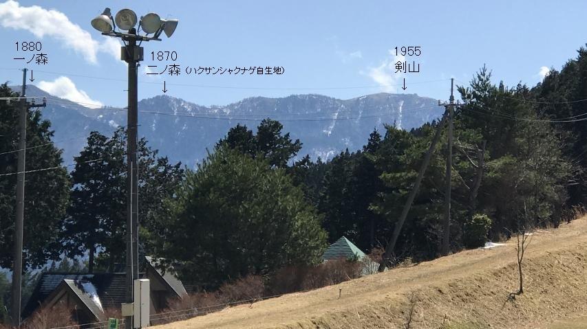 ゲレンデから剣山がチラと見える