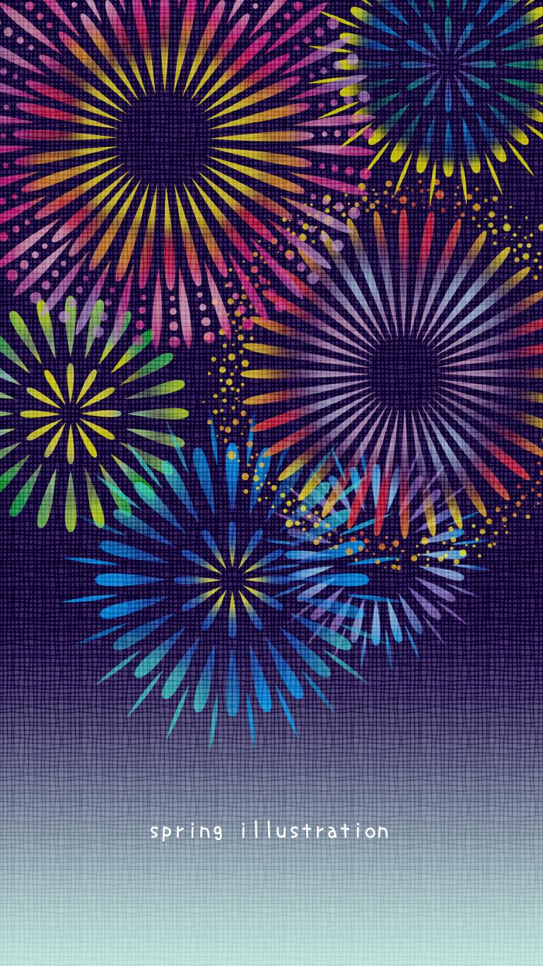 打ち上げ花火 夏のイラストスマホ壁紙 Spring Illustration シンプルでかわいいイラストのスマホ壁紙 スマホ待ち受け