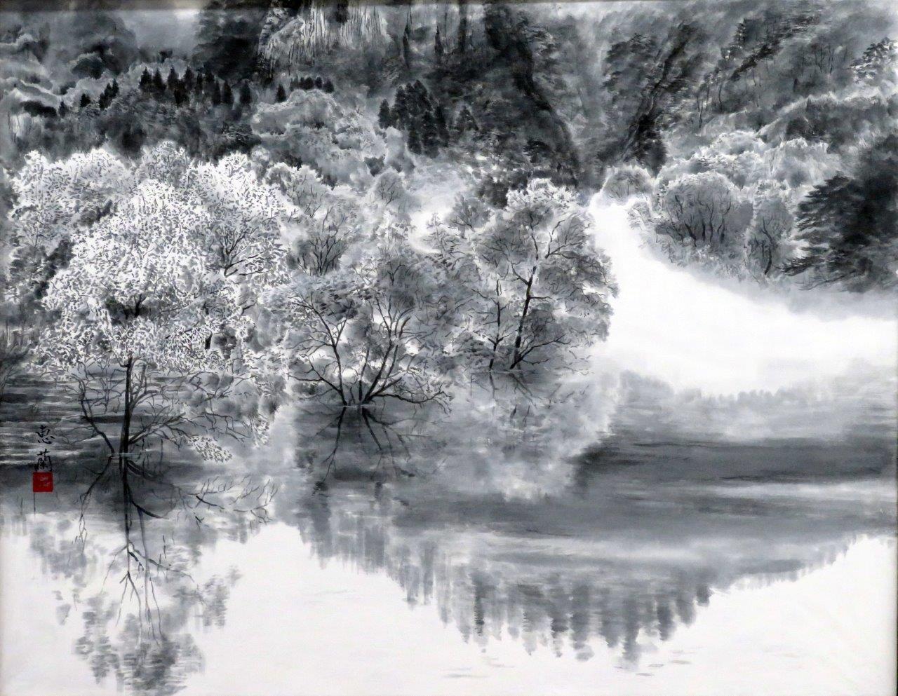 木暮恵蘭 朝の山湖 (2)