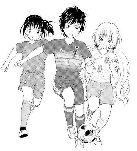 サッカー2018モノクロ