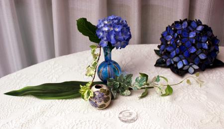 66紫陽花ガラス花瓶に