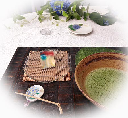 611紫陽花お抹茶1