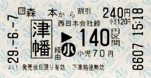森本→津幡→西日本会社線140円区間 連絡乗車券
