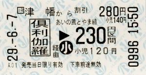 津幡→倶利伽羅→あいの風とやま線230円区間 連絡乗車券