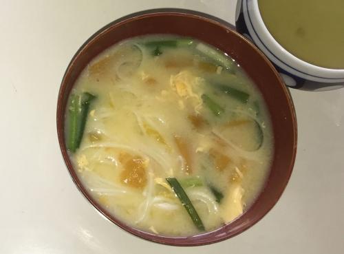 南京とソーメンの味噌汁