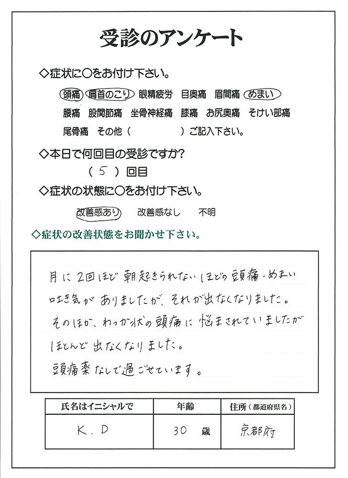 片頭痛,解消,治療,改善,京都市,大阪市