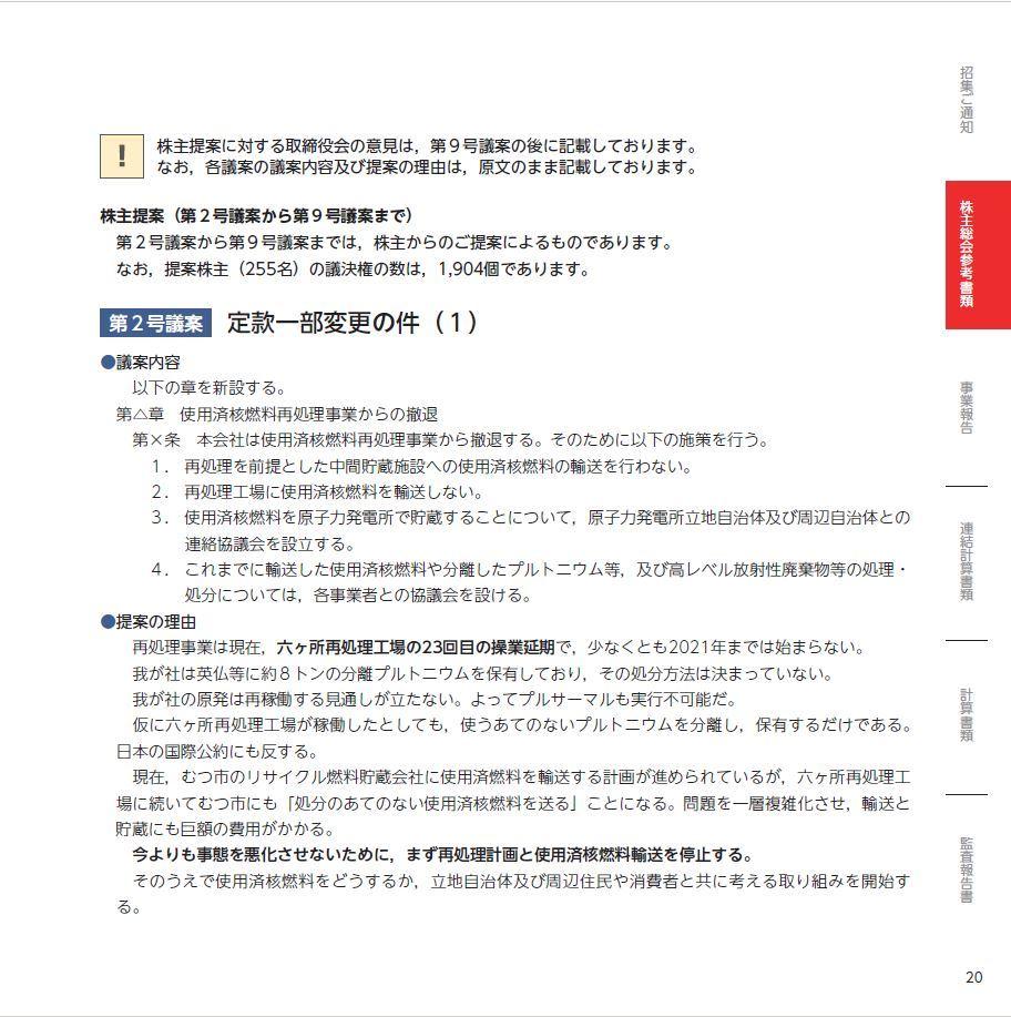 招集通知株主提案ページ