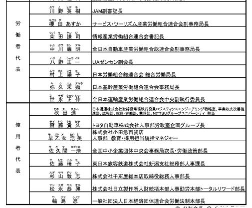 労政審労働条件委員会名簿
