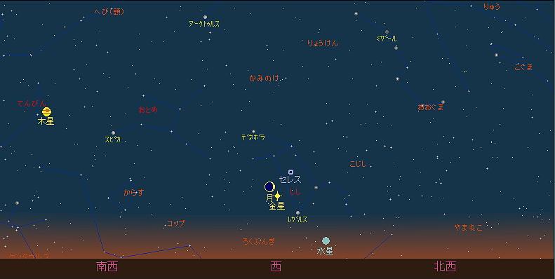 20180716 細い月と金星星図2